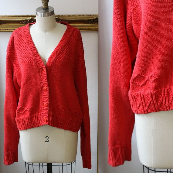 1980s red geometric cardigan // vintage red sweater //vintage sweater cardigan