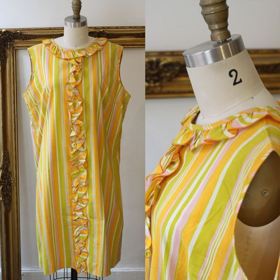 1960s striped ruffle dress // 1960s mod dress // vintage dress