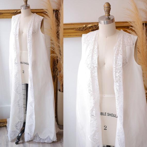 1970s white wedding vest // 1970s bridal vest with train // vintage bridal