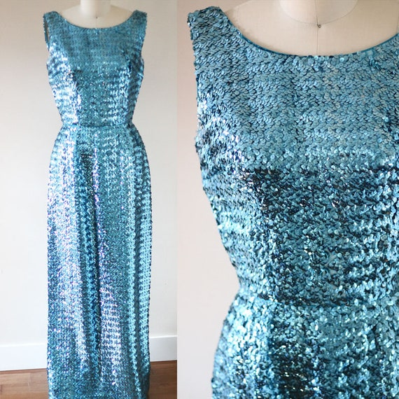 1960s Sequin Wiggle Dress // 1960s blue sequin dress // vintage sequin dress