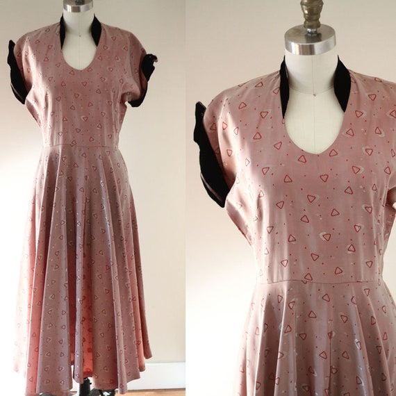 1950s pink triangle print dress // 1950s swing dress // vintage dress