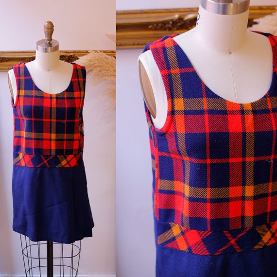 1960s plaid dress // 1960s plaid mini dress // vintage dress