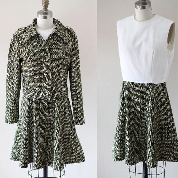 1970s zig zag dress set // 1970 mini dress // vintage dress set