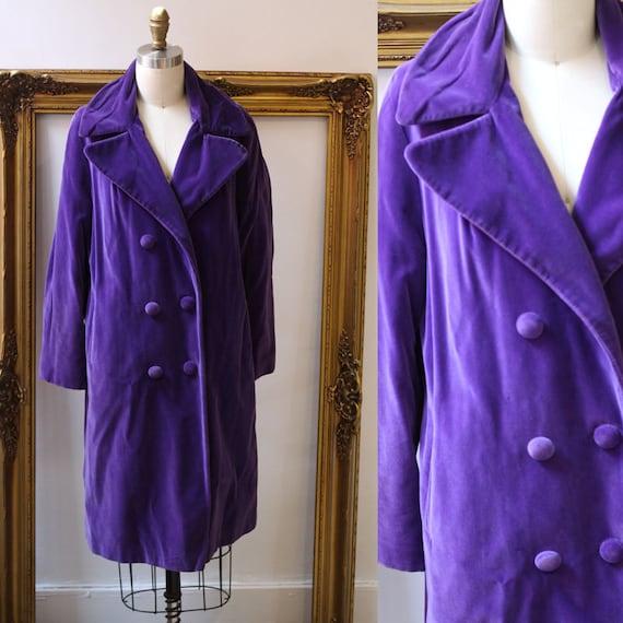 1960s purple velvet swing coat // purple velvet opera coat // vintage coat