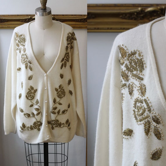 1980s gold beaded sweater // vintage beaded cardigan // vintage womens