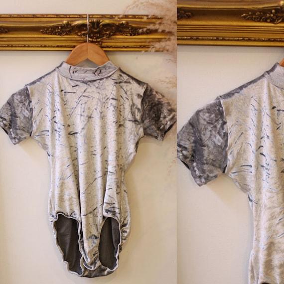 1990s silver velvet body suit // 1990s silver body suit // 1990s bodysuit