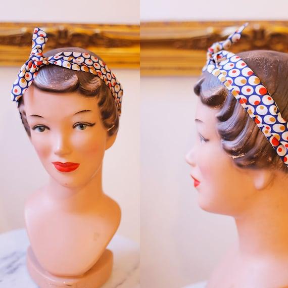 1960s skinny head scarf // vintage neck scarf // vintage dot scarf