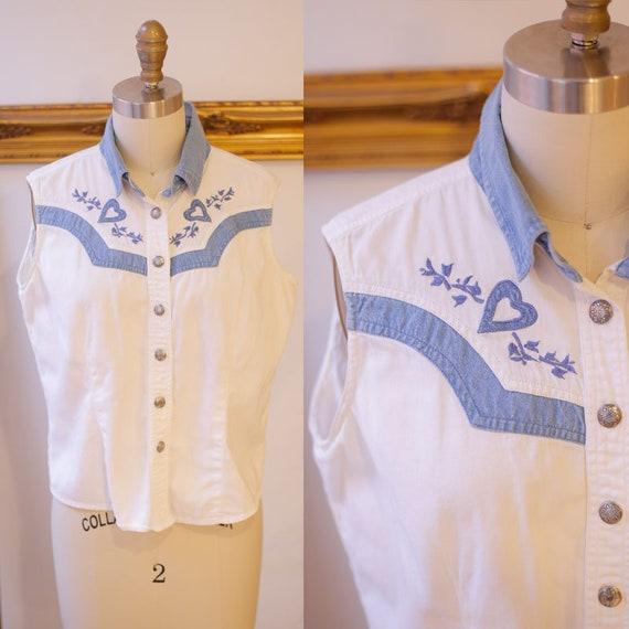 1990s denim vest / 1990s white western top / 1990s western shirt