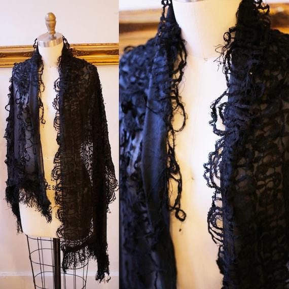 1900s black silk mourning shawl // 1900s silk shawl // antique shawl
