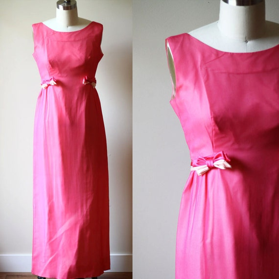 1960s pink bow gown // 1960s bridesmaid dress // vintage dress