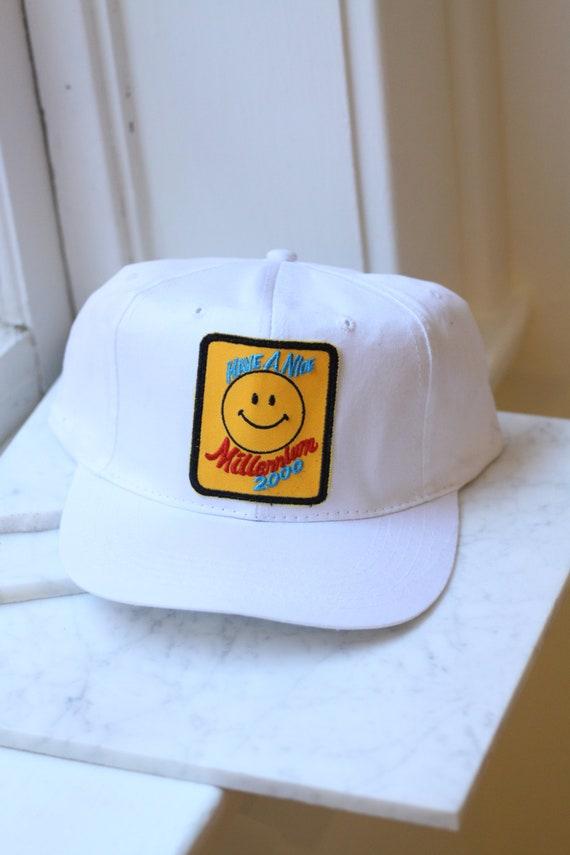 1990s Millennium hat // vintage smiley face hat // vintage hat