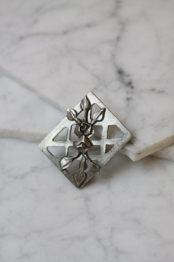 1990s silver pewter brooch // 1990s silver rose brooch // vintage brooch