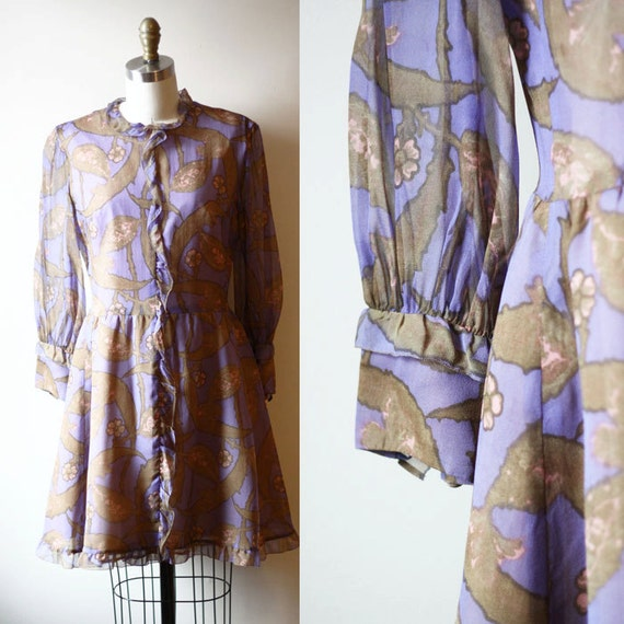 1960s purple mod dress // floral dress // vintage dress