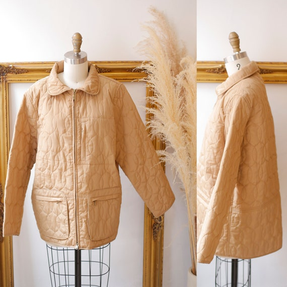 1990s quilted jacket  //beige quilted jacket // vi