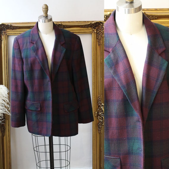 1980s purple plaid blazer // 1980s oversized blazer // vintage blazer jacket