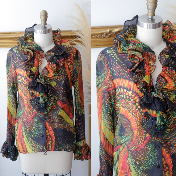 1960s black psychedelic blouse  // 1960s ruffle bl