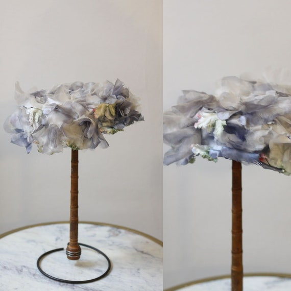 1950s soft blue and white floral hat // 1950s floral hat // vintage hat