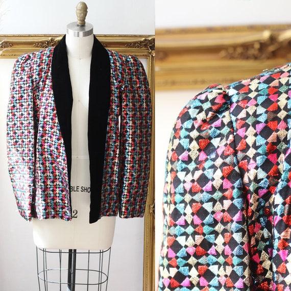 1970s rainbow sparkly blazer // vintage sparkly blazer // vintage sequin jacket