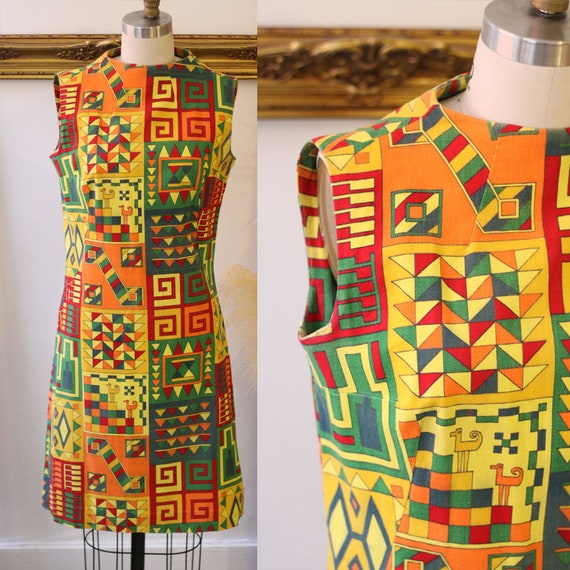 1960s egyptian revival mod dress // 1960s mod dres