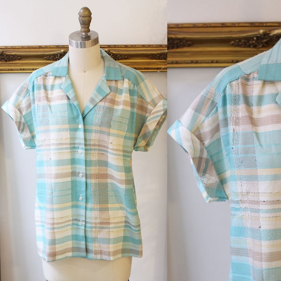 1970s short sleeve plaid blouse // 1970s plaid top // 1970s blouse