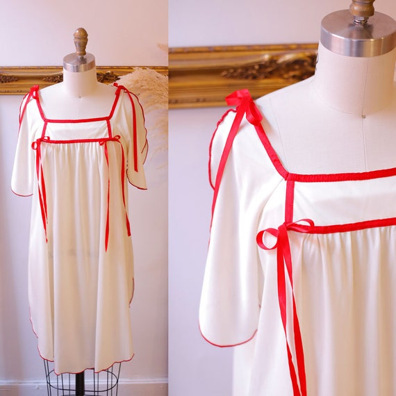 1970s cream slip dress //  1970s red tie slip // vintage slip dress
