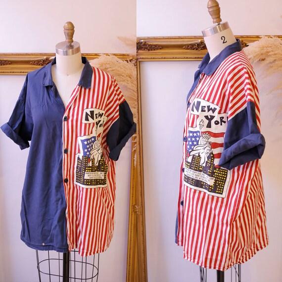 1980s New York button up // 1980s button up shirt // vintage New York shirt
