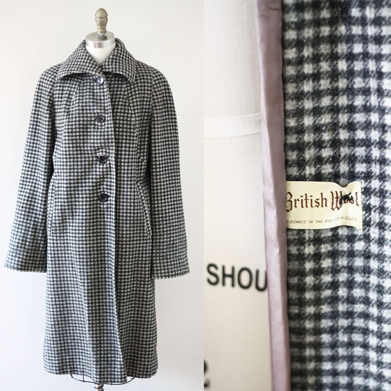 1950s checkered coat // 1950s british wool coat // vintage coat