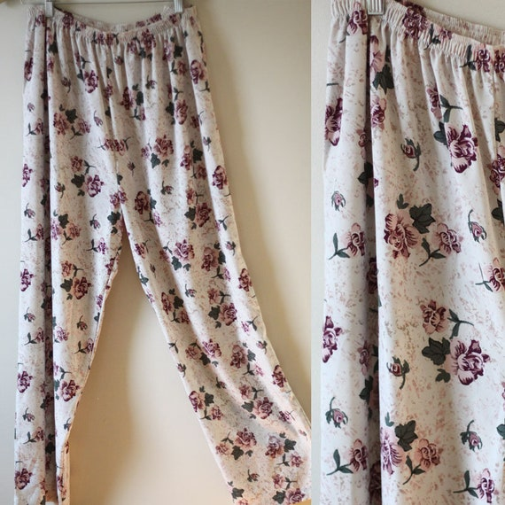 1980s floral pants jeans // vintage wide leg pant // vintage pants