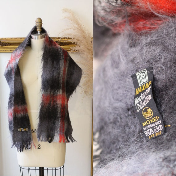 1960s grey and red plaid scarf // 1960s mohair scarf // vintage plaid scarves