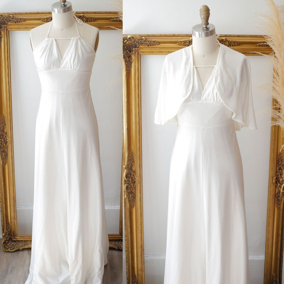 1970s white full length slip //  1970s wedding dress // vintage white dress
