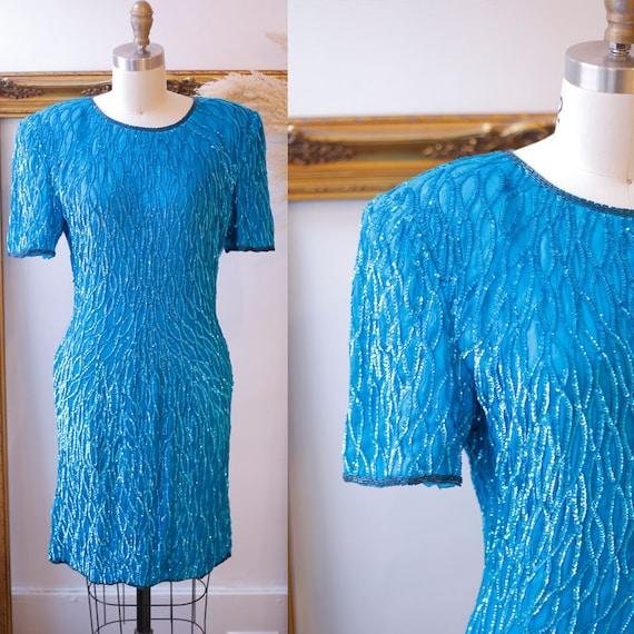 1980s sequin wiggle dress // 1980s blue sequin dress // vintage sequin dress