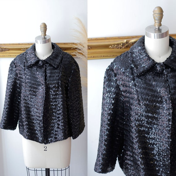 1980s black sequin blazer // vintage sequin blazer // vintage sequin jacket