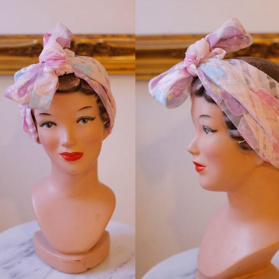 1980s sheer pink floral scarf  // vintage neck scarf // vintage nylon scarf