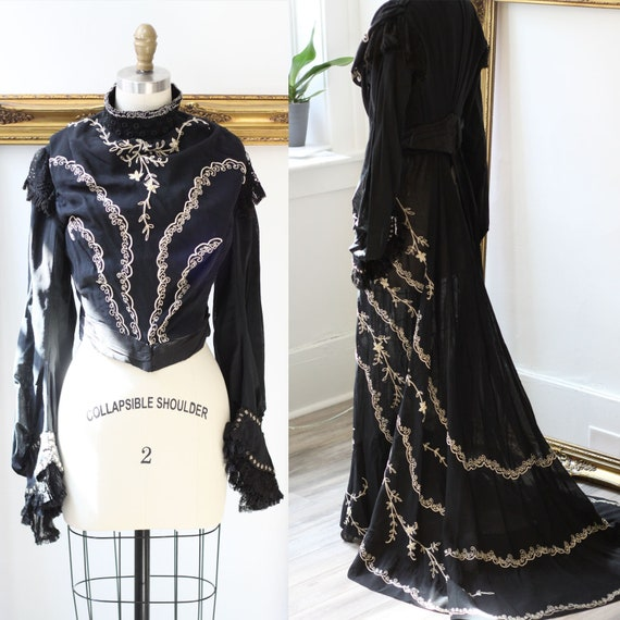 Late 1890s two piece dress // 1900s mourning dress