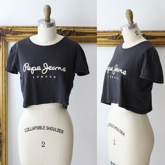 1990s Pepe Jeans crop top // crop top t-shirt // 1990s top