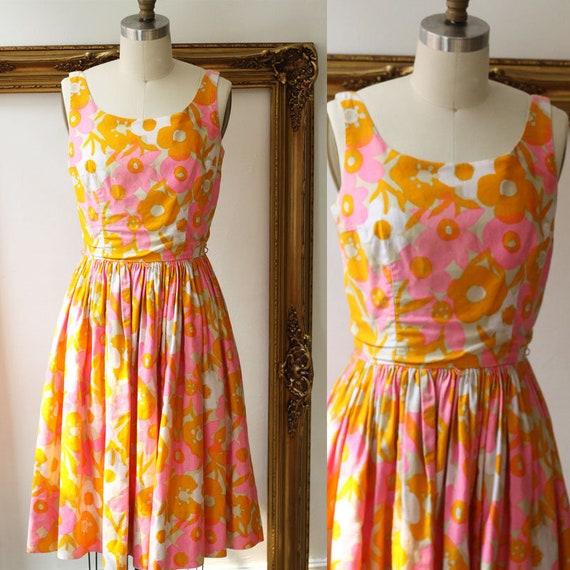 1960s orange floral dress // 1960s garden dress// vintage floral dress