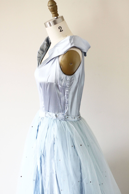 1950s Blue Cinderella Dress // 1950s blue satin gown ...