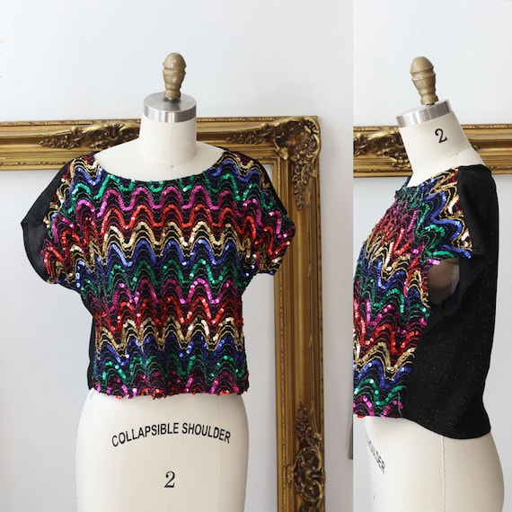1980s rainbow sequin top // 1980s sequin shirt // vintage sequin top