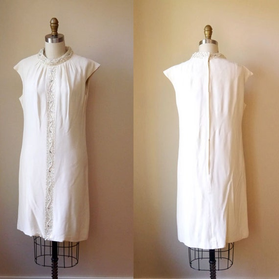 1960s white shift dress// bejeweled // vintage dress