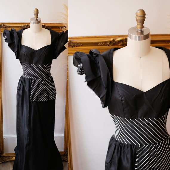 1960s black structured dress // 1960s big shoulder dress // vintage statement dress