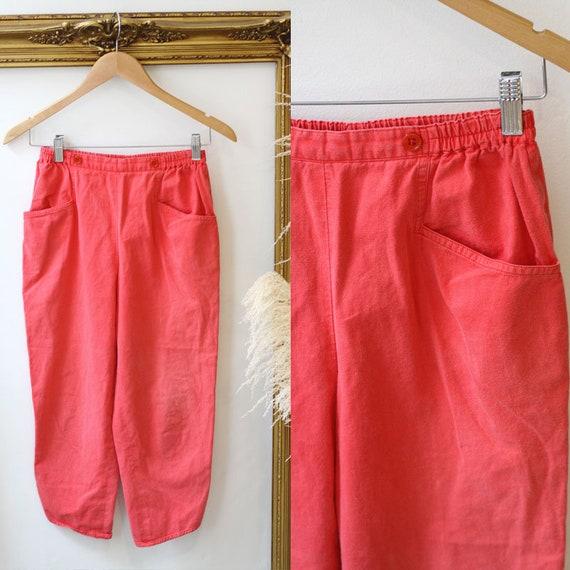 1960s red pedal pusher pants // 1960s red capri pants // vintage capri pants