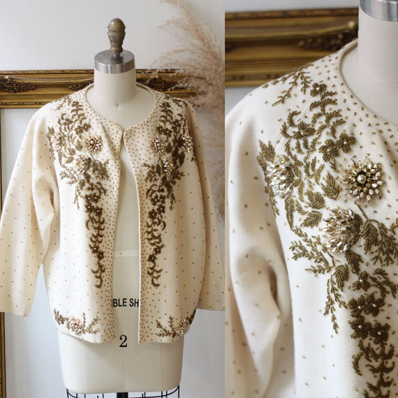 1960s gold beaded cardigan // 1960s sweater // vintage cardigan