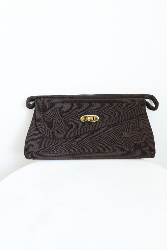 1940s brown cord handbag // 1940s handbag // vintage purse