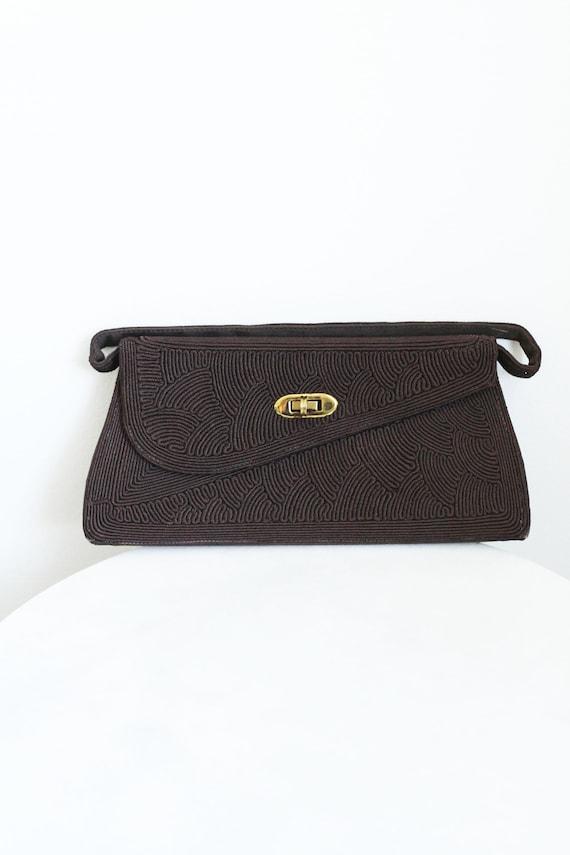1940s brown cord handbag // 1940s handbag // vintage purse