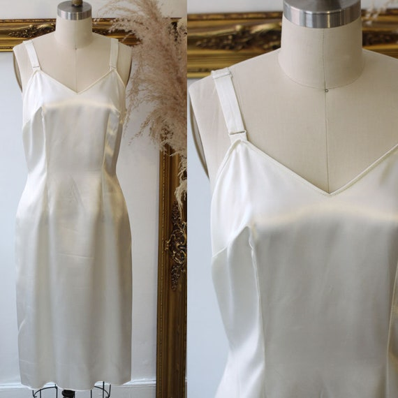 1960s white satin slip dress //  1960s white slip // vintage lingerie