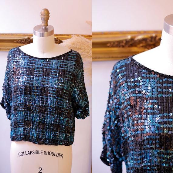 1980s checkered sequin top // 1980s sequin shirt // vintage sequin top