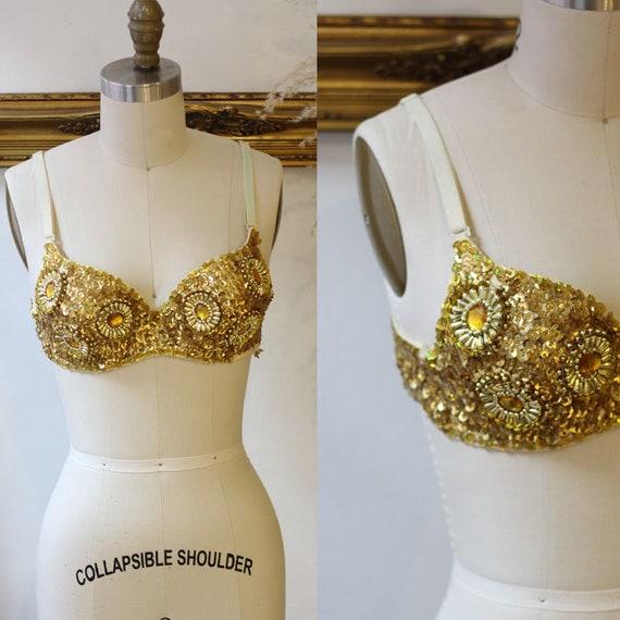 1980s gold sequin Bra // 1980s gold pin up bra // Vintage Bra