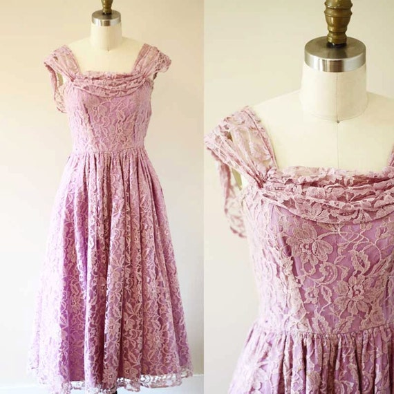 1950s lilac lace cocktail dress // 1950s purple party dress // vintage party dress