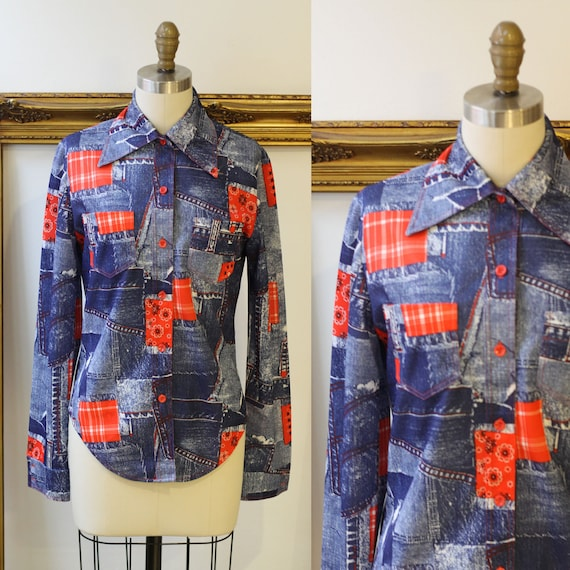 1970s denim bandana blouse // 1970s novelty print blouse // vintage womens