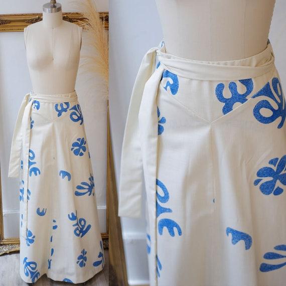 1970s tropical wrap skirt // vintage floral skirt // vintage skirt